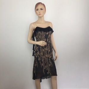 Max Studio Silk Ruffle Sheath Dress XS